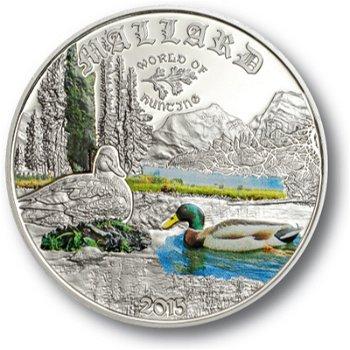Europas Wildtiere: Stockente, 2 Dollar Silbermünze mit Farbauflage, Cook Inseln