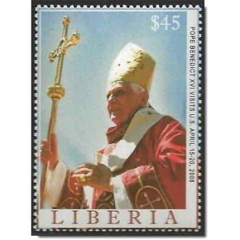 Papst Benedikt XVI. besucht die USA - Briefmarke postfrisch, Liberia