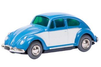 Blechspielzeug:Micro Racer 1046 VW Käfer, weiß-blau(Schuco)