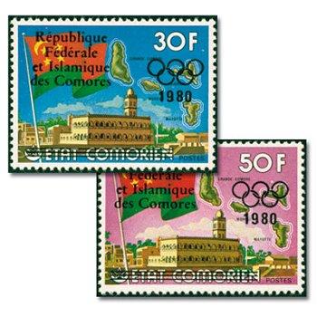 Olympische Sommerspiele 1980, Moskau - zwei Briefmarken mit Aufdruck, postfrisch, Katalog-Nr. 456-45