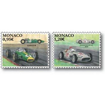 Legendäre Rennautos: Lotus 49 und Mercedes Benz W196 - 2 Briefmarken postfrisch, Monaco