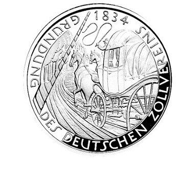 """5-DM-Münze """"150 Jahre Deutscher Zollverein"""", Polierte Platte"""