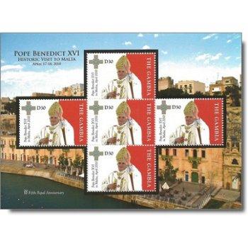 Pastoralbesuch von Papst Benedikt XVI. auf Malta - Briefmarken-Block postfrisch, Gambia