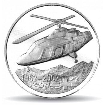 50 Jahre Rega, 20 Franken Münze 2002 Schweiz, Polierte Platte
