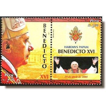 Papst Benedikt XVI. - 2 Briefmarken im Zusammendruck postfrisch, Peru