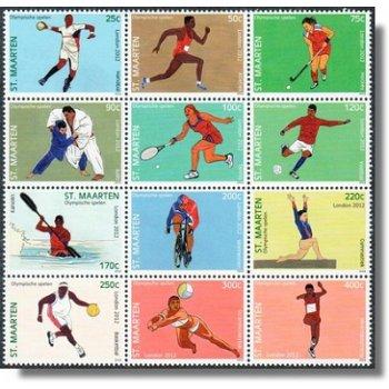 Olympische Sommerspiele 2012 - 12 Briefmarken im Zusammendruck, Sint Maarten