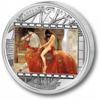 Meisterwerke der Kunstgeschichte:Lady Godiva, 20 Dollar Silbermünze, Cook Inseln