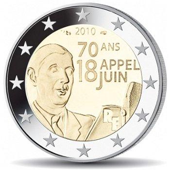 Charles de Gaulle - Appell vom 18. Juni 1940, 2 Euro Münze 2010 prägefrisch, Frankreich