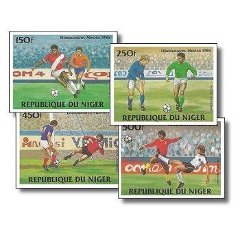 Fußballweltmeisterschaft 1986 - 4 Briefmarken ungezähnt postfrisch, Katalog-Nr. 908-911, Niger