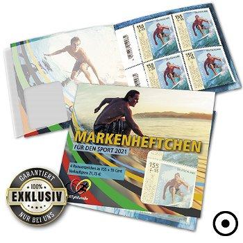 Neue Olympische Sportarten: Wellenreiten - Markenheftchen gestempelt, Deutschland