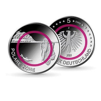 Polare Zone - 5 Euro Münze mit Polymerring, Stempelglanz, Deutschland