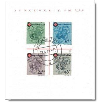 Red Cross - stamp block canceled, catalog no. Bl. 1, French Zone Rhineland Palatinate