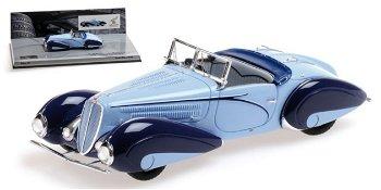 Modellauto:Mullin Automotive Museums Modell:Delahaye Type 135 M Cabriolet von 1937, hell-dunkelblau(