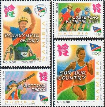Olympische und Paralympische Spiele London 2012 - 4 Briefmarken, postfrisch, Namibia