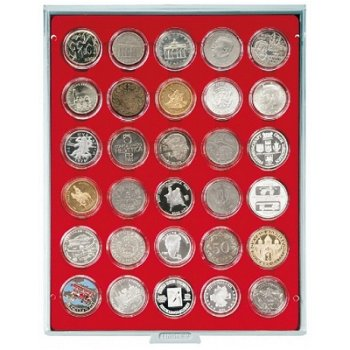 Lindner Münzbox für 10 und 20 Euro Silbermünzen verkapselt, grau, Einlage rot, LI 2226