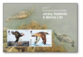 Europa 2021: Gefährdete nationale Tierwelt - Block postfrisch, Jersey