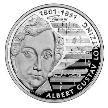 """10-DM-Silbermünze """"Albert Lortzing"""", Polierte Platte"""