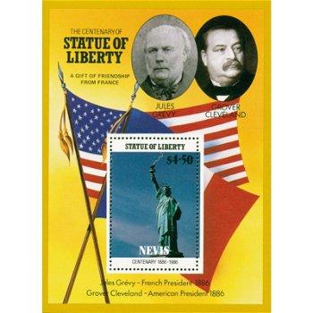 Freiheitsstatue - Briefmarken-Block postfrisch, Nevis