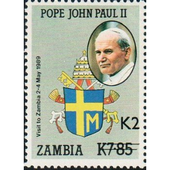 Papst Johannes Paul II. - Briefmarke mit lokalem Aufdruck, Katalog-Nr. 581, Sambia