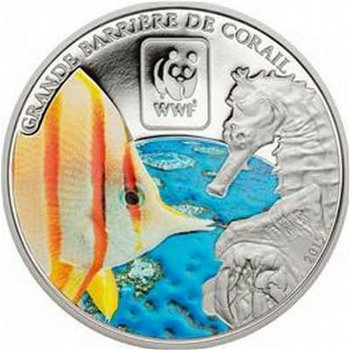 Great Barrier Reef, WWF-Münze mit Farbauflage, Zentralafrika