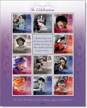 95. Geburtstag Queen Elisabeth II. - Kleinbogen postfrisch, verschiedene Länder
