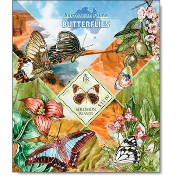 Schmetterlinge - Briefmarken-Block postfrisch, Salomon-Inseln