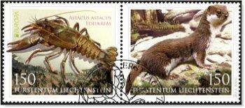 Europa 2021: Gefährdete nationale Wildtiere - 2 Briefmarken gestempelt, Liechtenstein