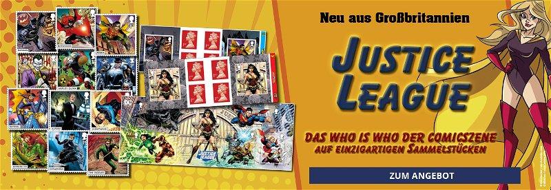 Comic, DC, Justice League, Sammelstücke, Briefmarken, Blocks, Numisbriefe, FDC