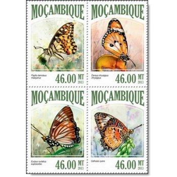 Schmetterlinge - 4 Briefmarken postfrisch, Mocambique