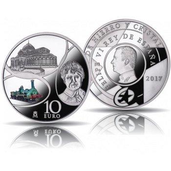 Eisen & Glas - Sternserie, 10 Euro Silbermünze mit Farbauflage 2017, polierte Platte, Spanien