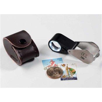 Präzisions-Lupe mit LED und UV-Lampe, 10 fache-Vergrößerung, inkl. Etui, Leuchtturm 338881