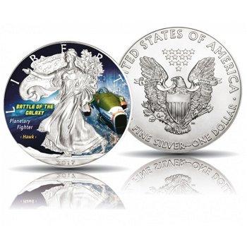 Battle of the Galaxy - Planetary fighter Hawk, Silber-Eagle 2017, 1 Dollar Silbermünze, USA