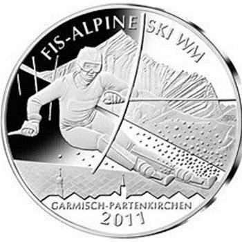 Alpine Ski WM 2011, 10-Euro-Silbermünze 2010, Polierte Platte, Deutschland