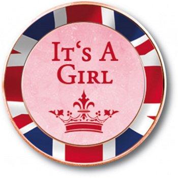 It's a girl, 1/2 Penny Münze mit Farbapplikation, Großbritannien
