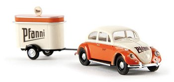 """Modellauto:VW Käfer mit Verkaufsanhänger """"Pfanni"""", orange/creme(Brekina, 1:87)"""
