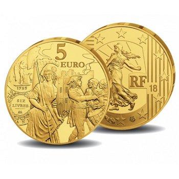 Die Säerin - Ecu de 6 Livres, 5 Euro Goldmünze 2018, polierte Platte, Frankreich