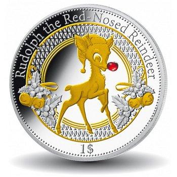 Rudolf das Rentier, Silbermünze mit echtem Rubin, Kiribati