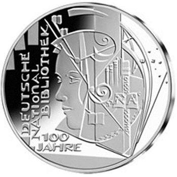 100 Jahre Deutsche Nationalbibliothek, 10-Euro-Silbermünze 2012, Polierte Platte