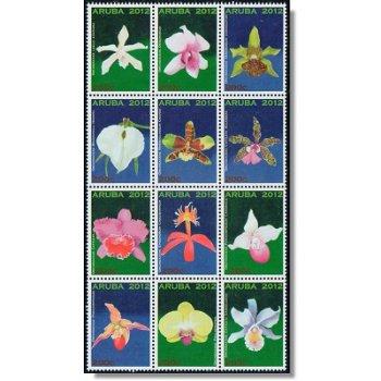 Orchideen - 12 Briefmarken postfrisch, Katalog-Nr. 695-706, Aruba
