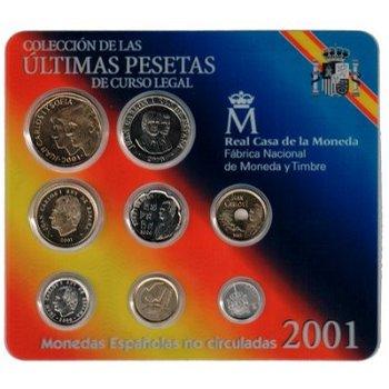 Kursmünzensatz 2001, letzter vor Euro-Einführung - Spanien