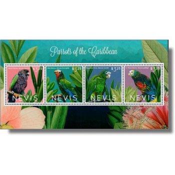 Papageien - Briefmarken-Block postfrisch, Nevis