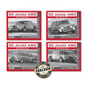 50 Jahre AMG, Die rote Sau - 4 Briefmarken postfrisch, Liechtenstein