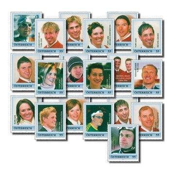 Österreichs Medaillengewinner, Turin 2006 - 19 Briefmarken postfrisch, Österreich