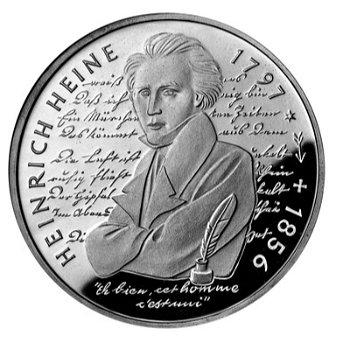 """10-DM-Silbermünze """"200. Geburtstag Heinrich Heine"""", Polierte Platte"""