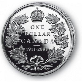 90 Jahre Canada Dollar - Silberdollar 2001, 1 Dollar Silbermünze, Canada
