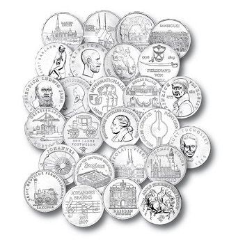 Komplette Sammlung der 5-Mark-Münzen der DDR