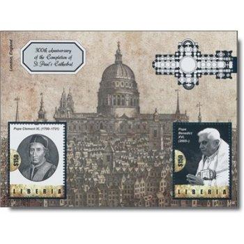 St. Pauls Kathedrale und Papst Benedikt XVI. - Briefmarken-Block postfrisch, Liberia