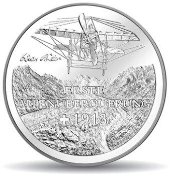 Alpenüberquerung, 20 Franken Münze 2013 Schweiz, Stempelglanz