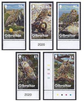 Eulen aus Gibraltar - 5 Briefmarken postfrisch, Gibraltar