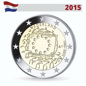 2 Euro Münze 2015, 30 Jahre Europaflagge, Niederlande